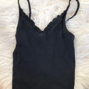 Topshop Black Sleeveless Cami Ribbed Shirt Top